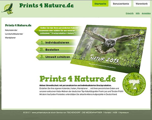 Startscreen von www.prints4nature.de